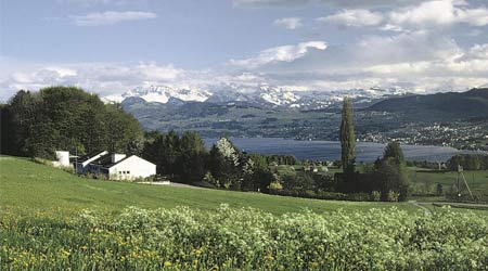 The home of strath tonic Switzerland overlooking Lake Zurich.