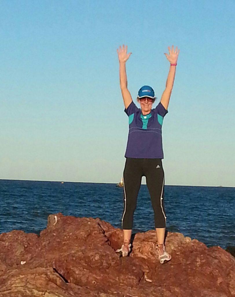 Dr Julie Crews running in today's New York Marathon 3 Nov 2013