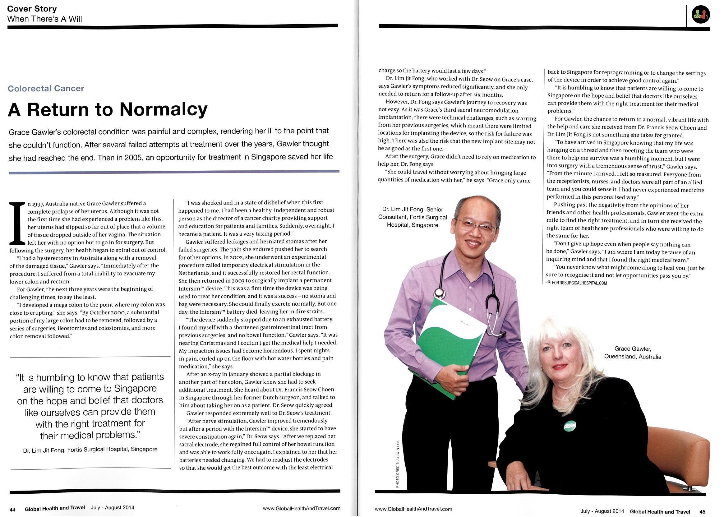 Grace Gawler July-August 2014_Global Health and Travel_A Return to Normalcy_